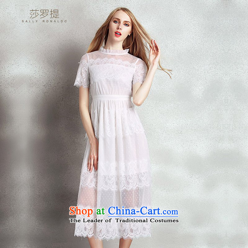 Sha Lo mentioned?2015 Fall_Winter Collections new elegance dress long skirt collar embroidery lace stitching Mesh Sau San dresses white?L