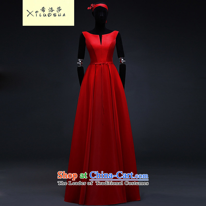Hillo Lisa (XILUOSHA) satin dress long bows marriages service upscale v-neck evening dress banquet style of the new spring 2015 China Red�XXL