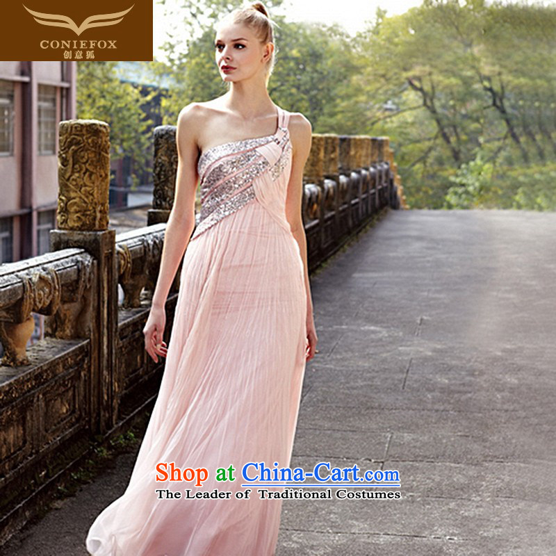 Creative Fox evening dresses pink shoulder and sexy back dress Beveled Shoulder long wedding dress banquet services under the auspices of the annual bows dress dresses 80168 pink?M