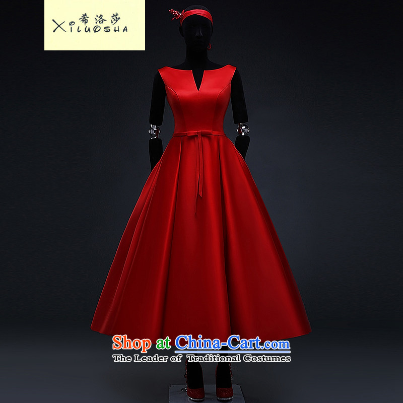 Hillo XILUOSHA_ Lisa _red satin wedding dress 2015 Spring bridal dresses bon bon skirt bows in marriage long chinese red?s