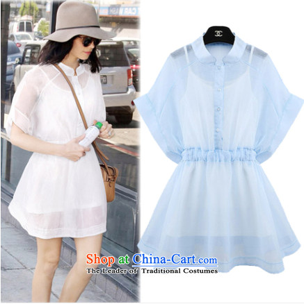 2015 Summer fresh small Fei Fei cuff Foutune of large European root of the tether strap two kits dresses 239 Blue�M