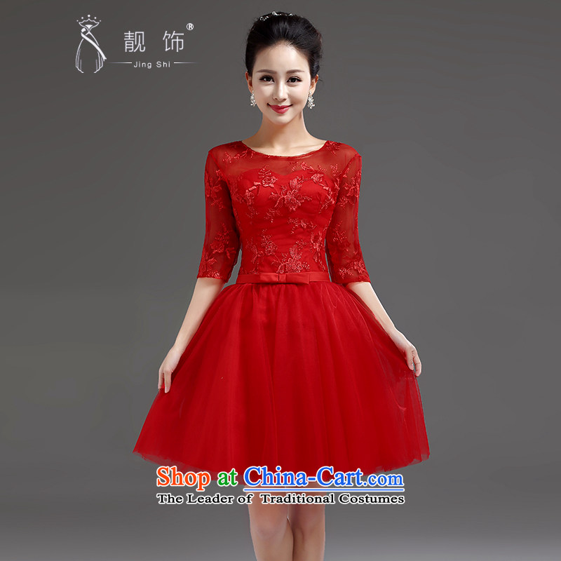 The new 2015 International Friendship lace in cuff bride wedding dress bows services banquet short, Red Dress red tie L