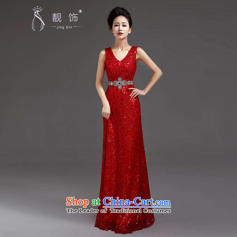 The talks with the new 2015 evening dresses on slice 4 luxury sexy deep V-Neck long to dress the moderator will RED�M