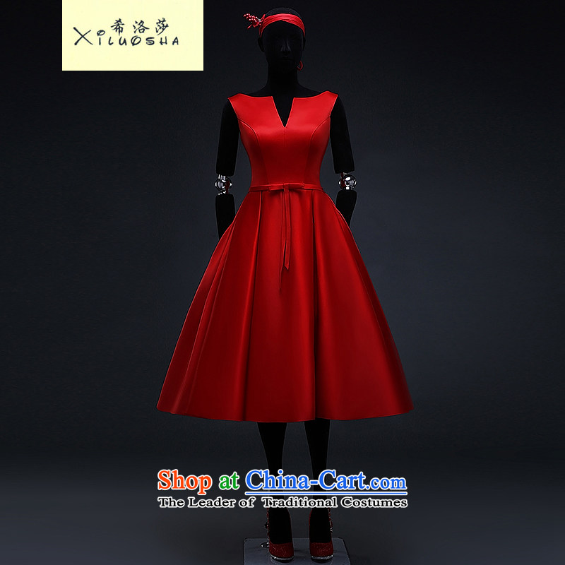 Hillo XILUOSHA_ Lisa _red satin dress in long shoulders v-neck bridal dresses marriage bows services evening dress Europe stylish Chinese red聽s