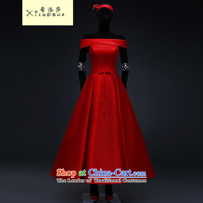 Hillo XILUOSHA_ Lisa _red satin wedding dress 2015 Spring bridal dresses bon bon skirt bows in marriage long chinese red?L