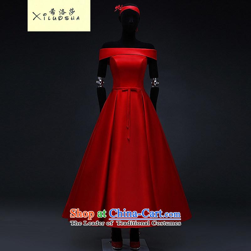 Hillo XILUOSHA) Lisa (red satin wedding dress 2015 Spring bridal dresses bon bon skirt bows in marriage long chinese red�L