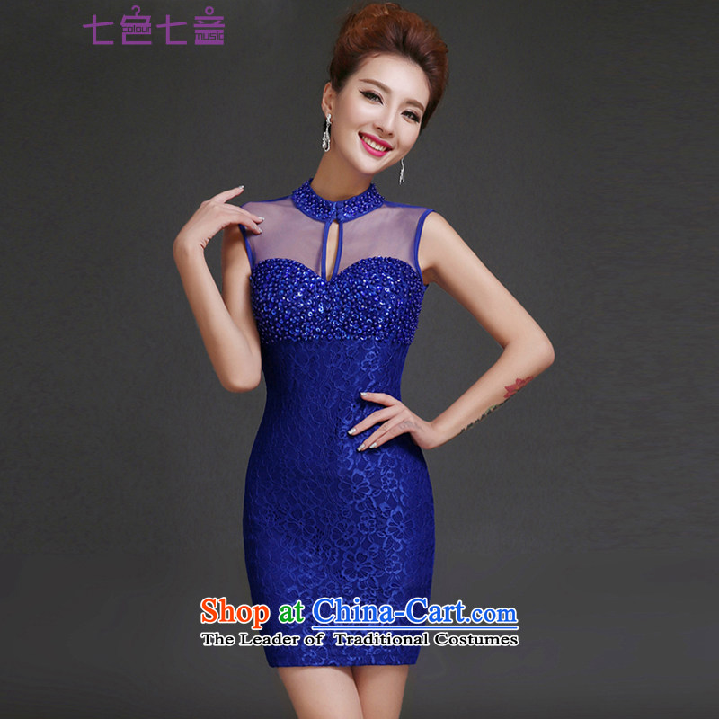 7 7 color tone evening dresses 2015 new moderator banquet dress lace collar female evening dresses�L023�Blue�M
