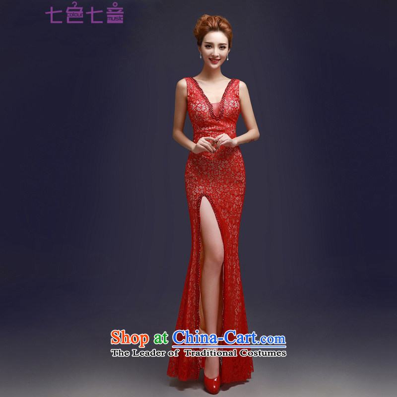 7 7 color tone�2015 new red lace bride bows services evening dress shoulders long gown�L008 Sau San�RED�M