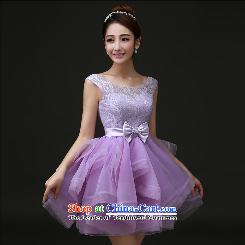 The first white into about?2015 New Service Bridal bridesmaid bows to small Dress Short, Wedding Dress marriage moderator dress female purple?L