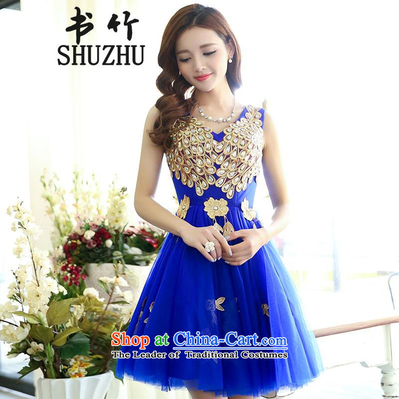 The bride services 2015 Summer bows new stage evening dress short skirt host evening bridesmaid services blue S