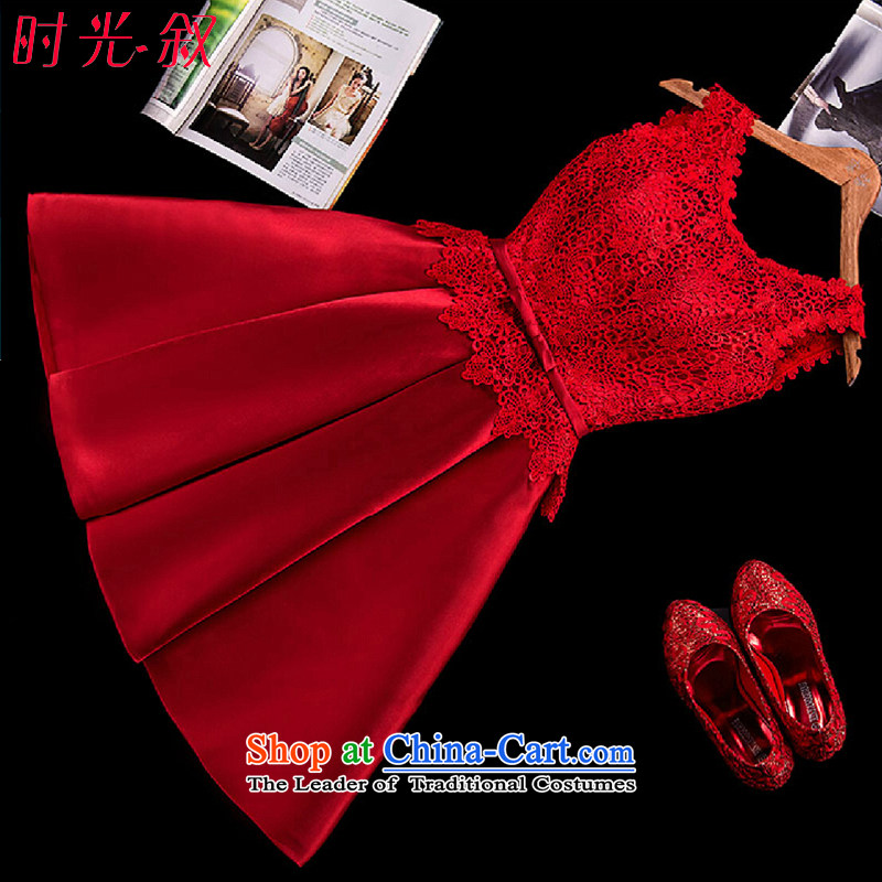Time Syrian new autumn 2015 dress stylish bride red Wedding Dress Short of a field shoulder dress Top Loin banquet pregnant women serving RED?M bows
