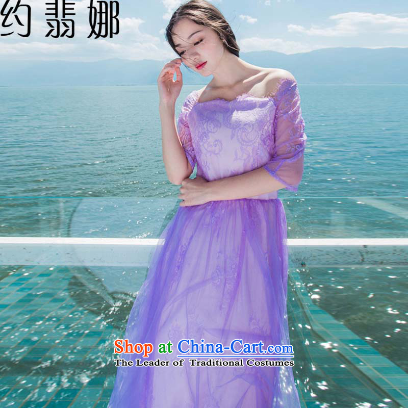 About the?2015 Summer desecrated by the new purple lace retro elegant gauze large dresses? 5102?light purple?M