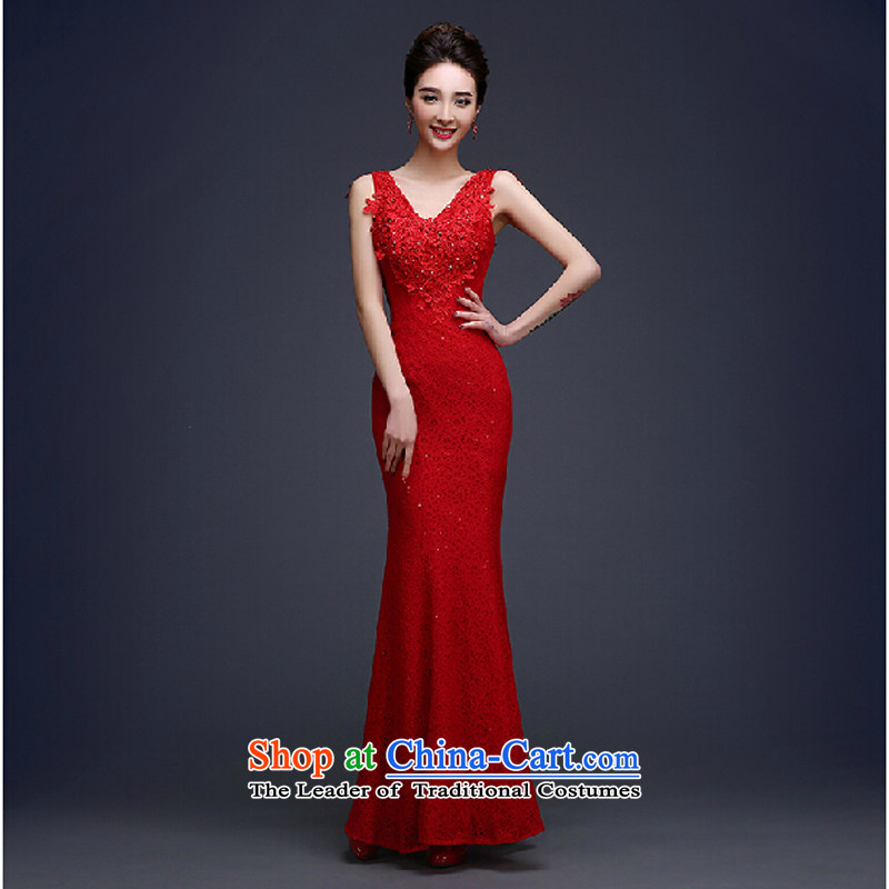 The new summer 2015 Korean stylish wedding dresses Red slotted shoulder length_ Bride services dress dress drink red?XL