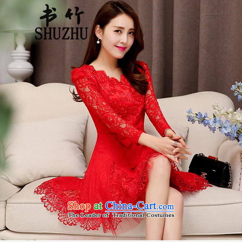 However, the spring and summer of 2015, the bride services new long-sleeved red in long wedding dress marriage evening dress the lift mast to female red?XXL
