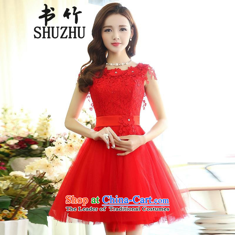 In the spring of 2015, the new version of the Women's Korea waist sleeveless lace stylish bon bon dress marriage wedding dress red L