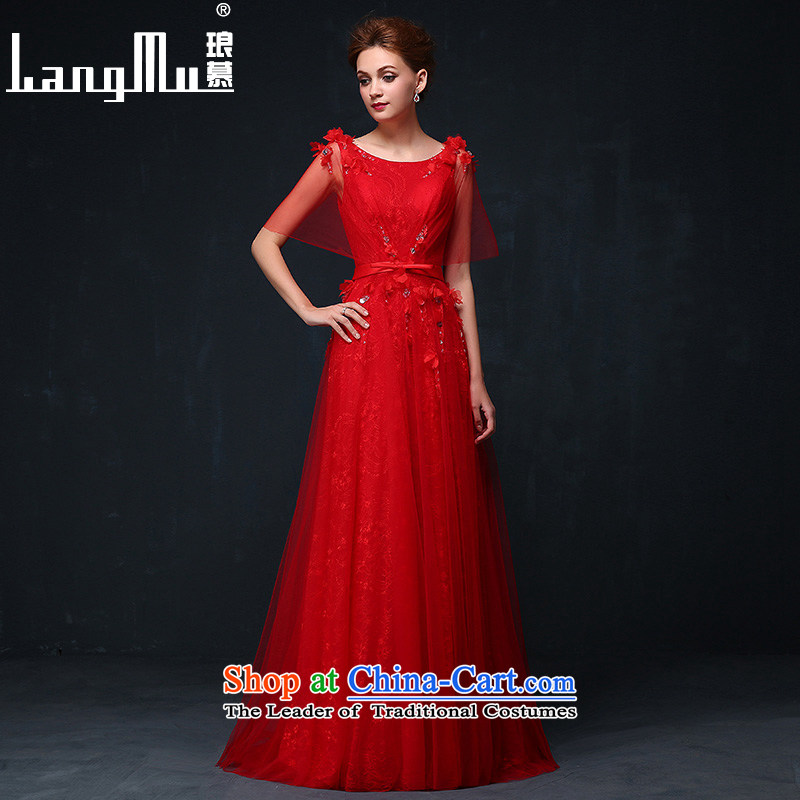 The new 2015 Luang red double-shoulder dress black meat bride bows to align the service     flower banquets evening dresses chinese red?XL