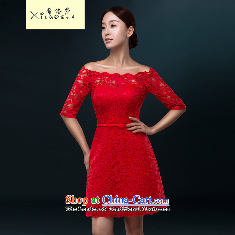 Hillo Lisa (XILUOSHA) booking wedding-dress Sau San service of bows bride Summer 2015 new stylish wedding dresses women and one small field shoulder RED?M