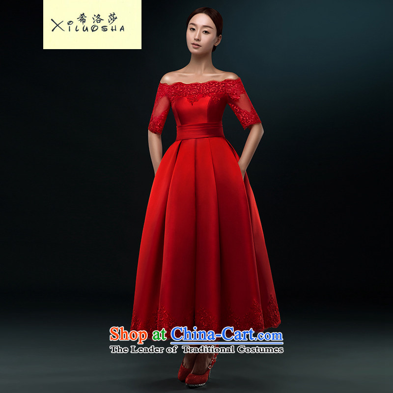 Hillo XILUOSHA_ bridal dresses Lisa _Mr Ronald satin bows in Europe and in the long-sleeved evening dress the Word 2015 Spring wedding dress shoulder wine red聽s