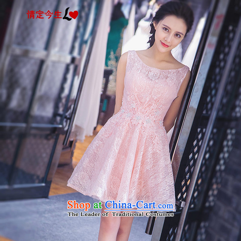 Love of the overcharged by 2015 a new summer, pink slotted shoulder sleek and hem short skirt, Wedding Dress bridesmaid banquet evening dresses pink tailor-made exclusively concept Message Size