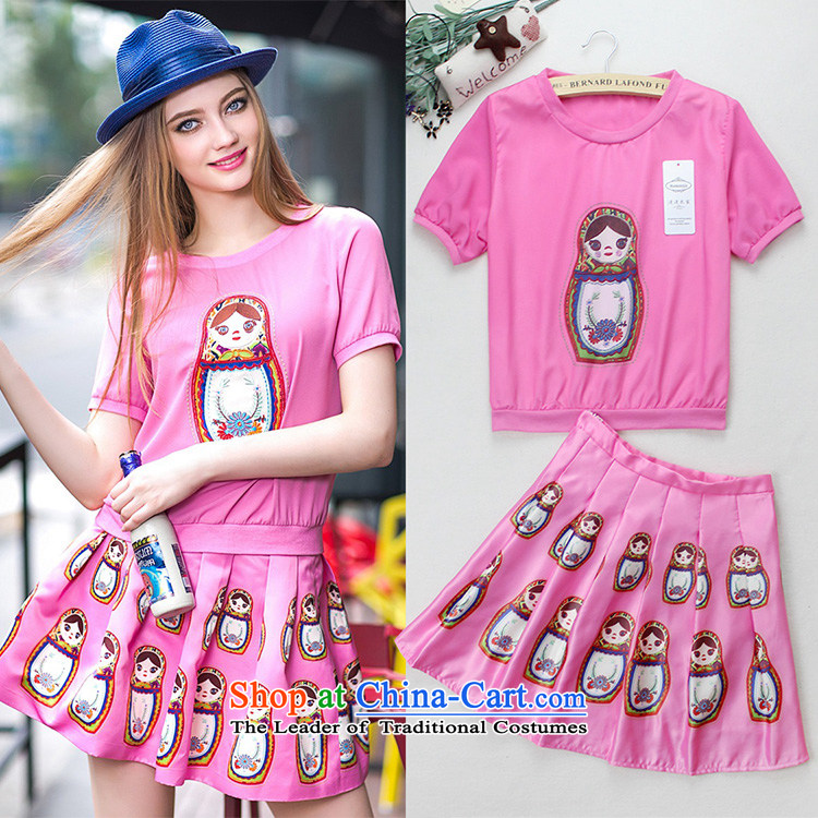 Summer Couture fashion new stamp avatar short-sleeved T-shirt skirt Kit 8523 pink?M