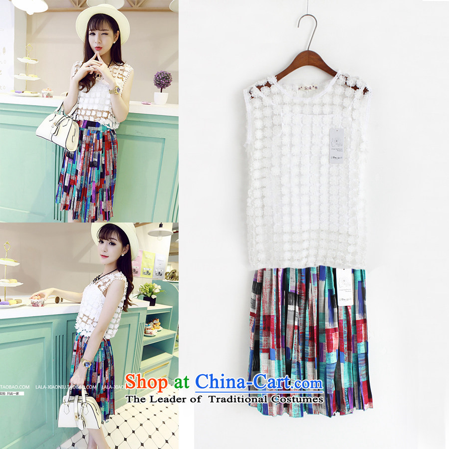 Summer 2015 new Korean engraving shirt color blocks like Susy Nagle long skirt to vest kits are Code 133 9,266 White