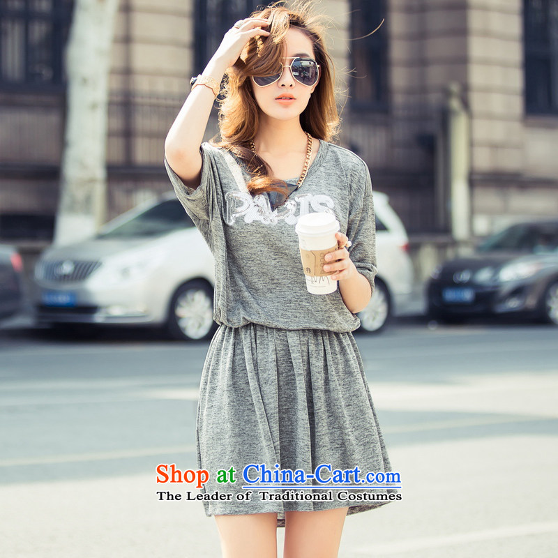 Real-Concept 2015 Summer New Western Wind loose bat sleeves knitting two kits and trendy Kit 8053 Light Gray?M
