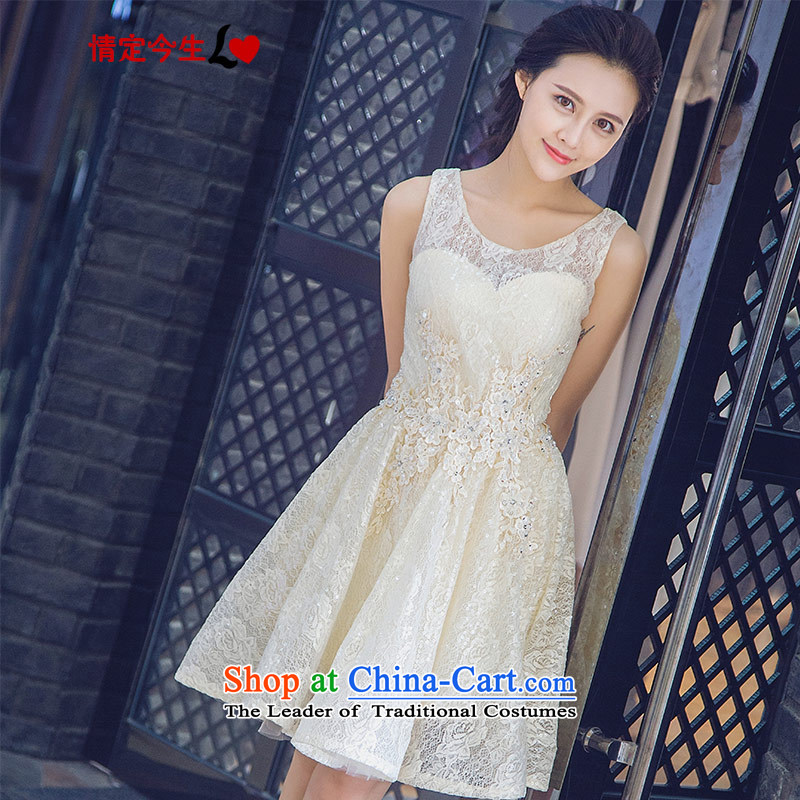 Love of the overcharged by 2015 a new summer, champagne color round-neck collar stylish dresses short bridesmaid dresses, banquet evening dresses wedding dress bows serving champagne color make the concept of message size is designed