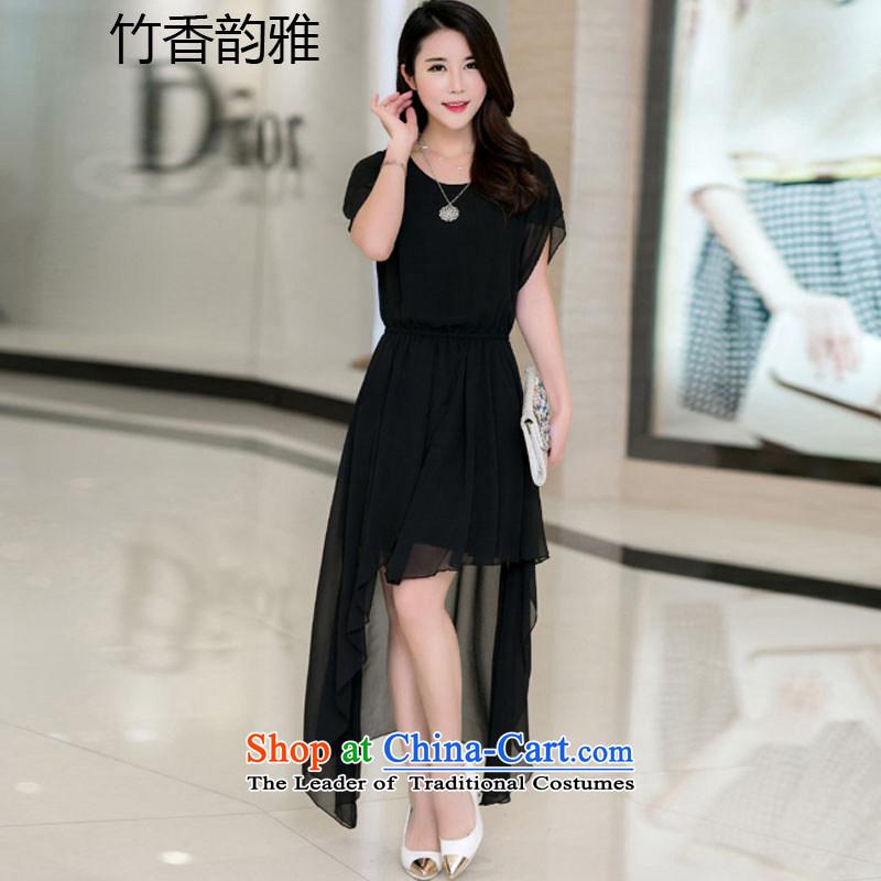 New dress video summer in thin skirt Korean women's large chiffon temperament round-neck collar dovetail dresses black�XXL