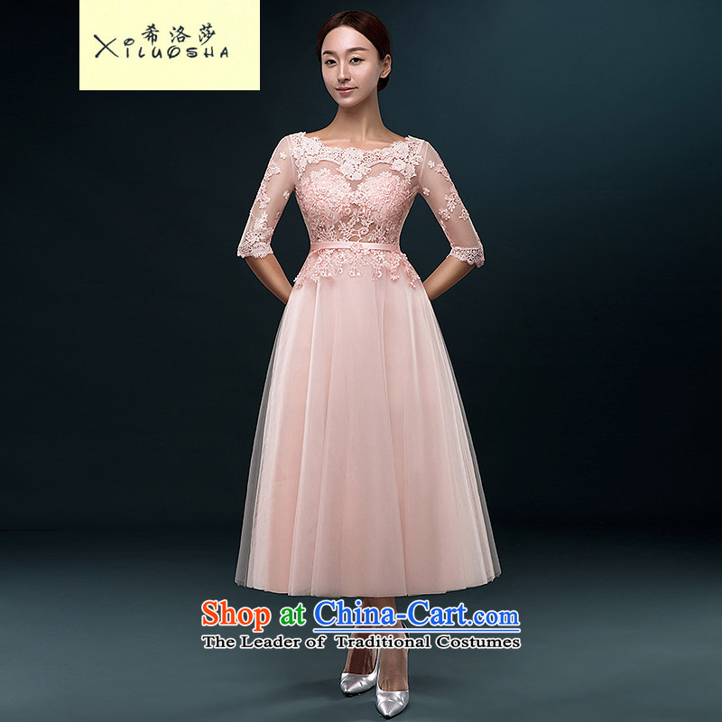 Hillo Lisa _XILUOSHA_ booking wedding-dress a Field Service brides shoulder marriage bows in cuff lace evening dress in summer 2015 Long new meat pink聽L