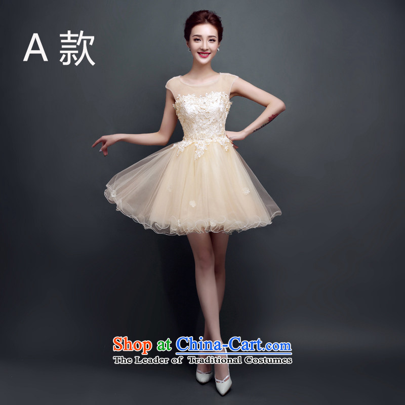 In spring and summer 2015 new bridesmaid small dress the word skirt short, bows to shoulder the girl evening performances wedding dress pleasant bride champagne colorAS