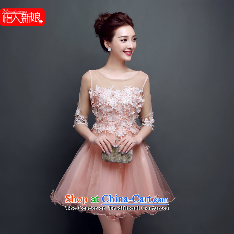 Summer 2015 new bridesmaid small dress the word skirt short) bows services shoulder evening dinner reception female wedding dresses pleasant bride meat pink?S
