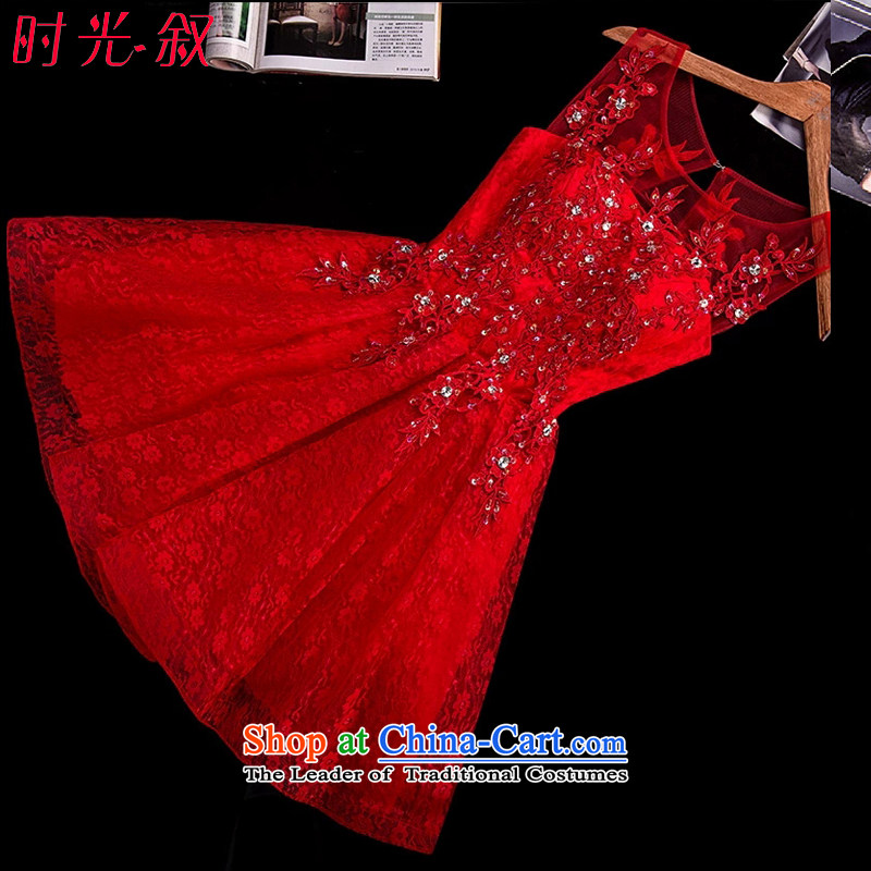 Time the new 2015 Syria small red dress bride bows service of married women dress lace dresses autumn small women dress RED M