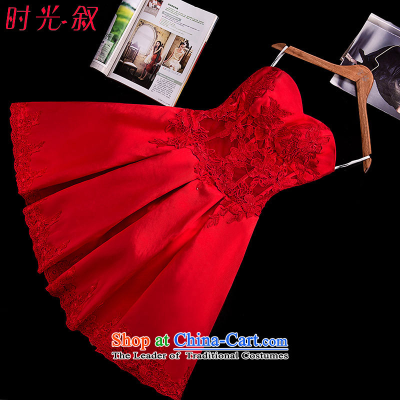 Time Syrian brides fall/winter 2015 new small dress fluoroscopy anointed chest video thin lace bows to red short of marriage to door short skirts thick satin red?XL