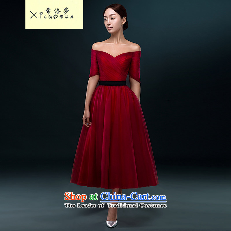 Hillo Lisa (bows in bride XILUOSHA) cuff marriage in small dress long banquet evening dresses 2015 new booking wedding-dress Summer Wine red?L