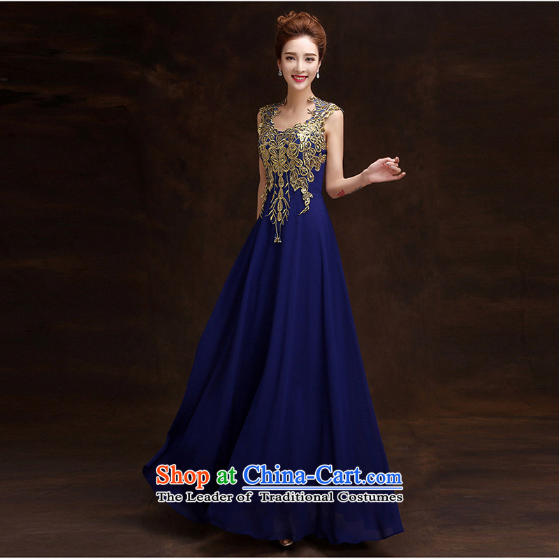 Pure Love bamboo yarn 2015 new bride wedding dress the spring and summer of Sau San red double-shoulder bows services under the auspices of blue dress performances made XXL