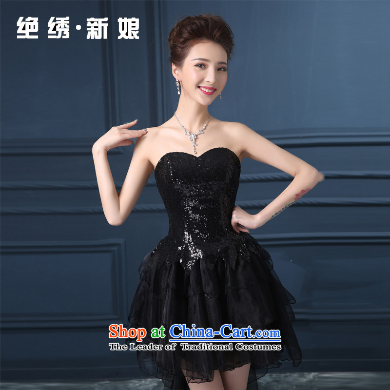 Summer 2015 new anointed chest code graphics thin short of marriages banquet dinner dress will preside over the Black?XXXL?Suzhou Shipment