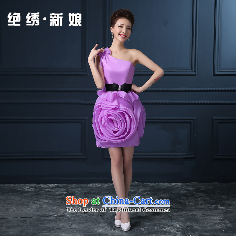 Bridesmaid dress Summer 2015 new shoulder larger video thin short of marriages banquet dinner dress will preside over the purple?S?Suzhou Shipment