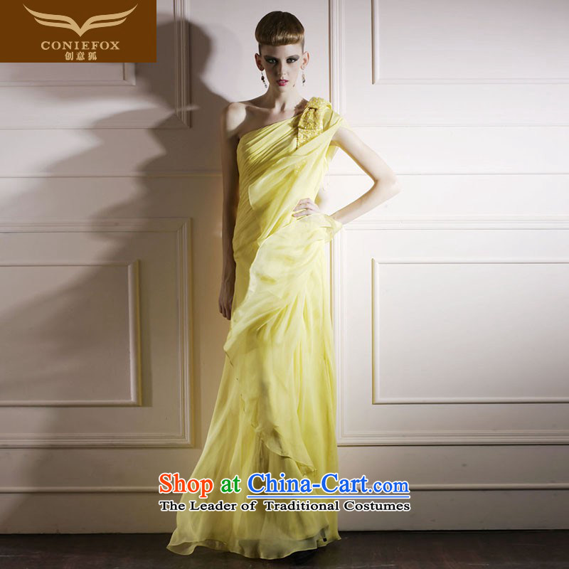 Creative Fox yellow with Beveled Shoulder cuff stage performance services under the auspices of the annual dress exhibition dress Sau San long red carpet dress elegant long skirt 80869 yellowS