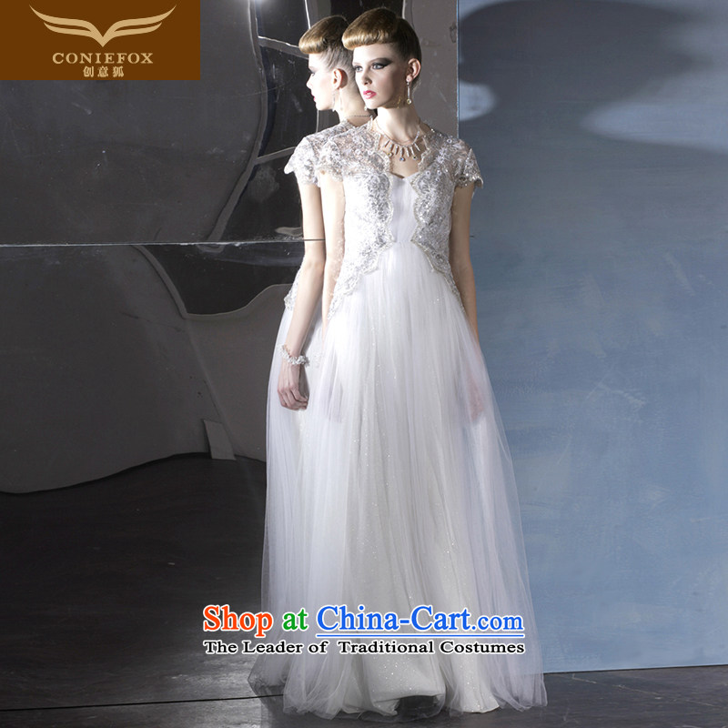Creative Fox evening dresses package shoulder Sau San white wedding dresses stage shows Service Bridal wedding dress evening banquet dress 81,000 White?XXL