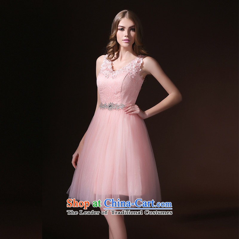 Toasting champagne bride services 2015 spring/summer short new stylish evening dress straps lace video thin sister skirt bridesmaid services Pink�L