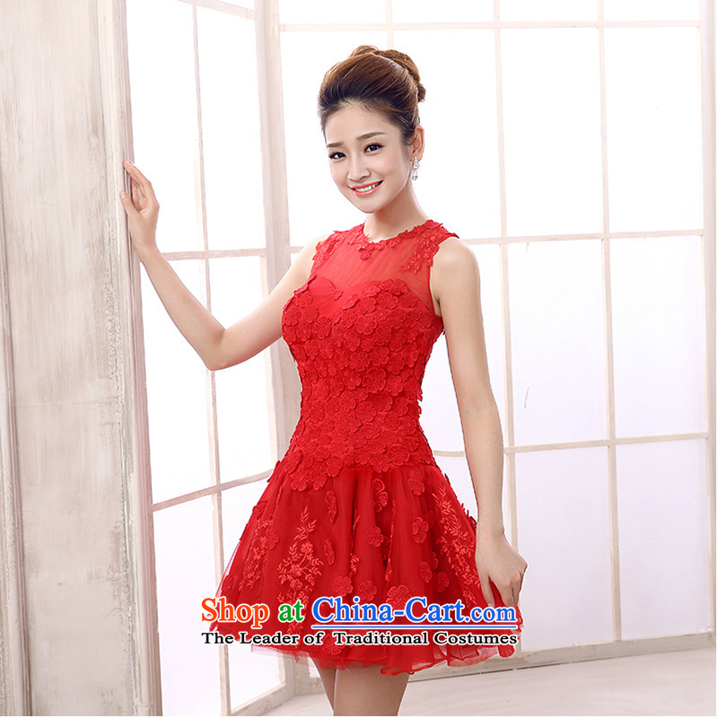 The first white into about banquet Evening Dress Short) Moderator dress girl brides bows services during the spring and autumn red lace annual small red dress�XL