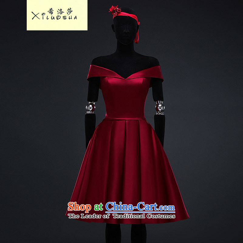 Hillo XILUOSHA_ Lisa _bride bows Services Mr Ronald evening dresses 2015 new short skirt the word_ shoulder Europe small dress Wine red satin deep wine red聽XXL