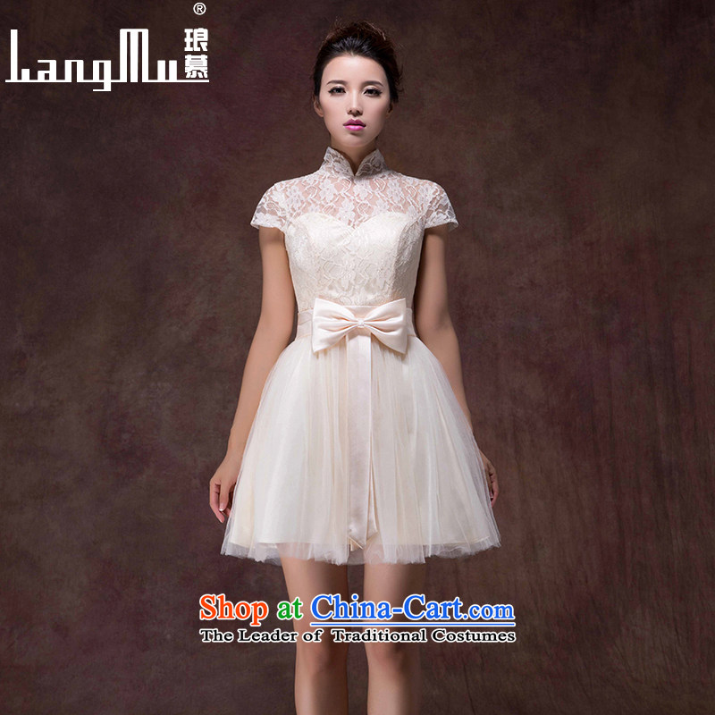 The�new 2015 Luang marriage champagne color bride services short skirts dresses bows stylish zipper bridesmaid dress girls pregnant women champagne color high-end custom