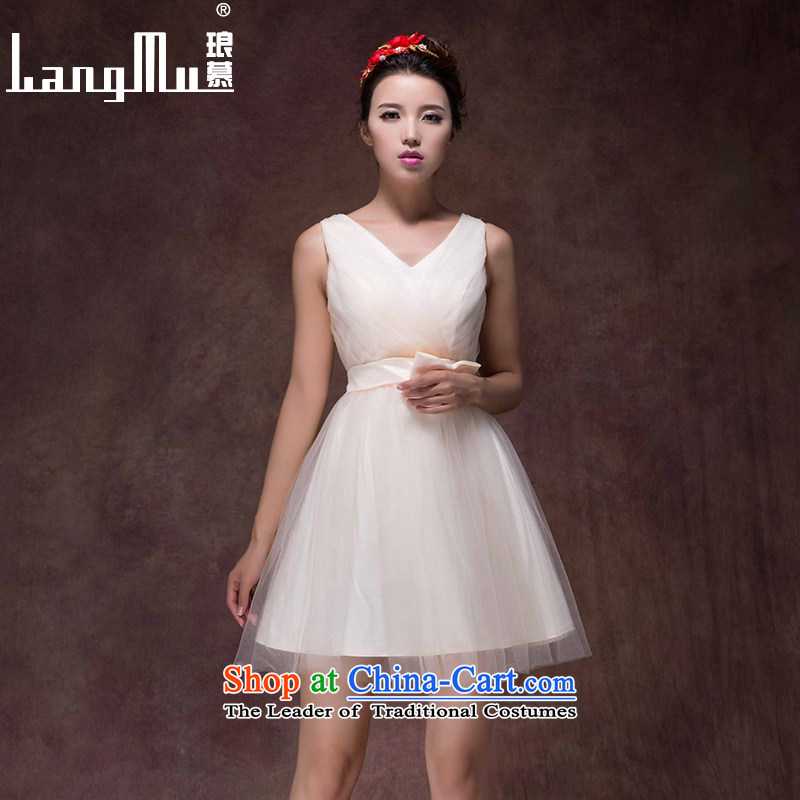 The?new 2015 Luang wedding dress champagne color bows service, bridal dresses skirt Fashion zipper small bridesmaid dress champagne color high-end custom
