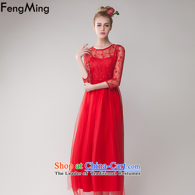 Hsbc Holdings plc Ming retro bride lace wedding dresses embroidered red petticoat large long skirt dress female red S