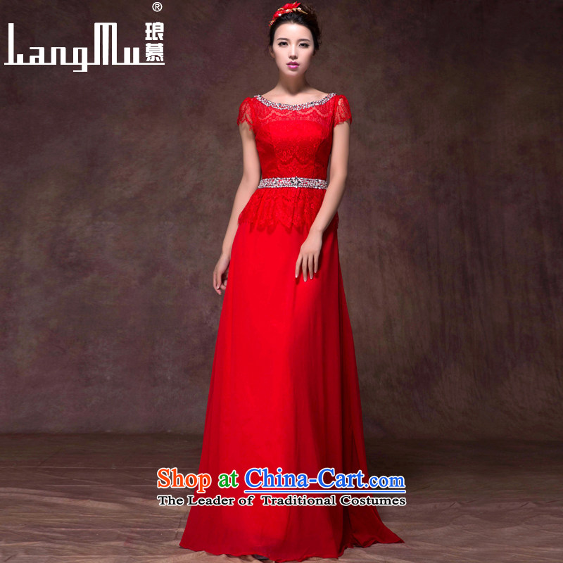 The�new 2015 Luang wedding dress a field package version Korean short-sleeve shoulder lace Sau San video and slender, evening dress will China red high-end custom
