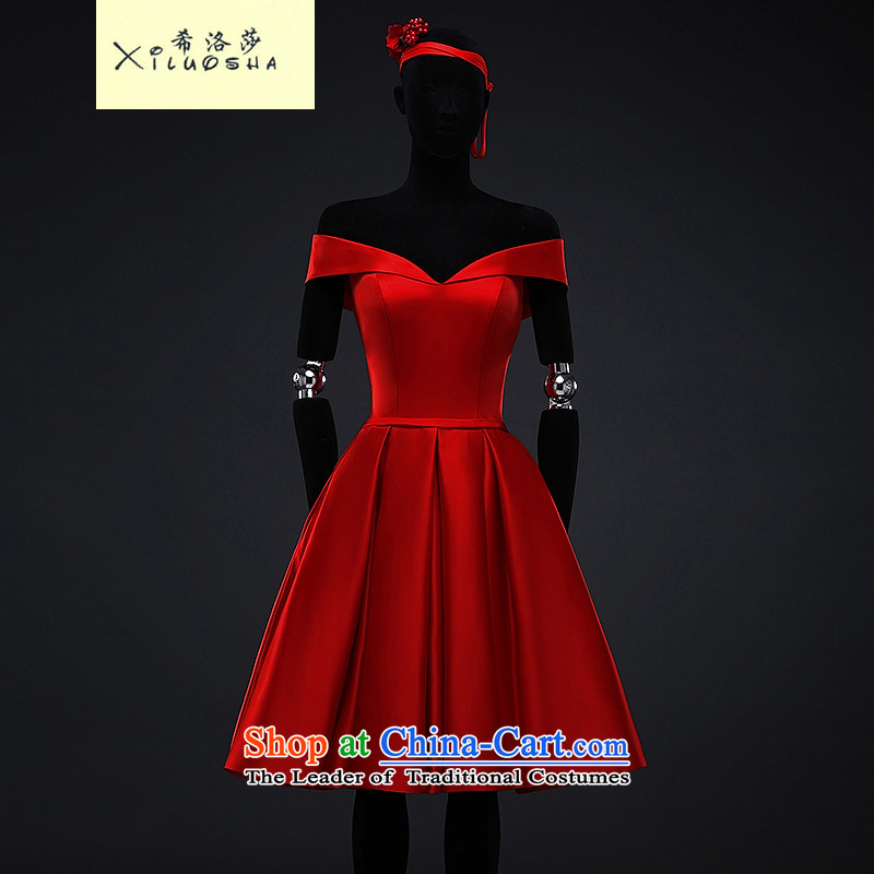 Hillo XILUOSHA) bridal dresses Lisa (satin dress in female marriage bows Services Mr Ronald evening dresses Ballroom 1 field shoulder a small red dress China Modern Red?M