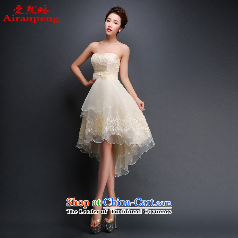 Love So Peng bridesmaid dress 2015 new bride anointed chest bon bon performances before Dress Short long after serving evening drink with Mr Ronald champagne color to the size of the customer to return does not support