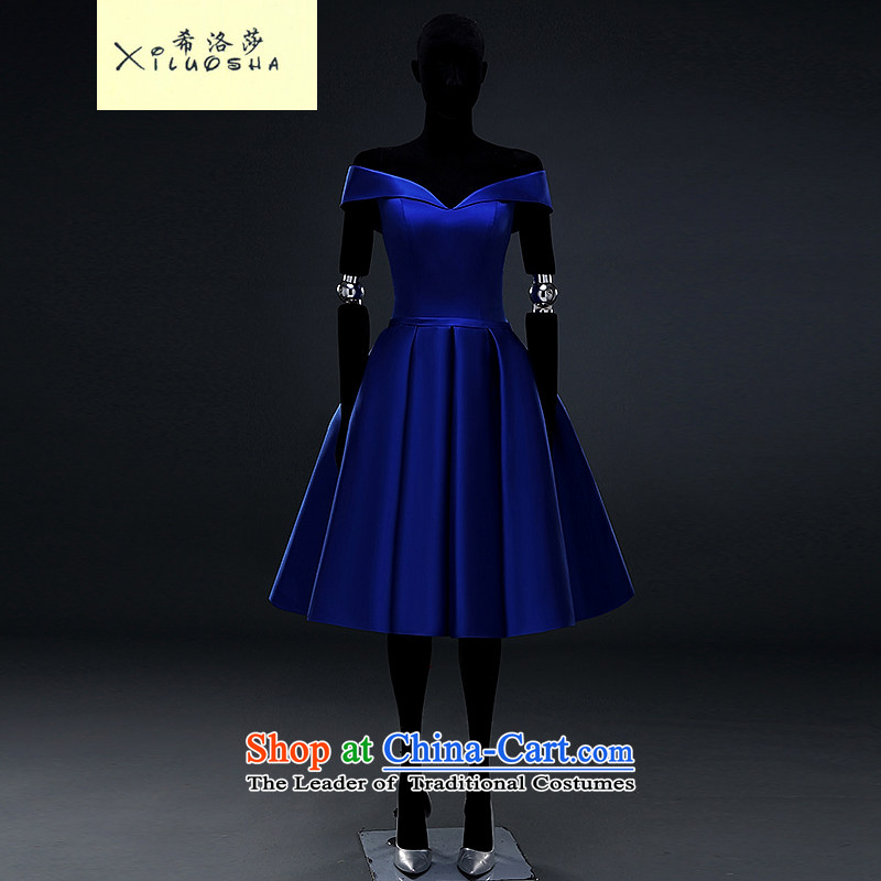 Hillo Lisa (XILUOSHA) banquet dinner dress short, bows to Mr Ronald satin dress blue slotted shoulder small dress v-neck 2015 New royal blue?XXL