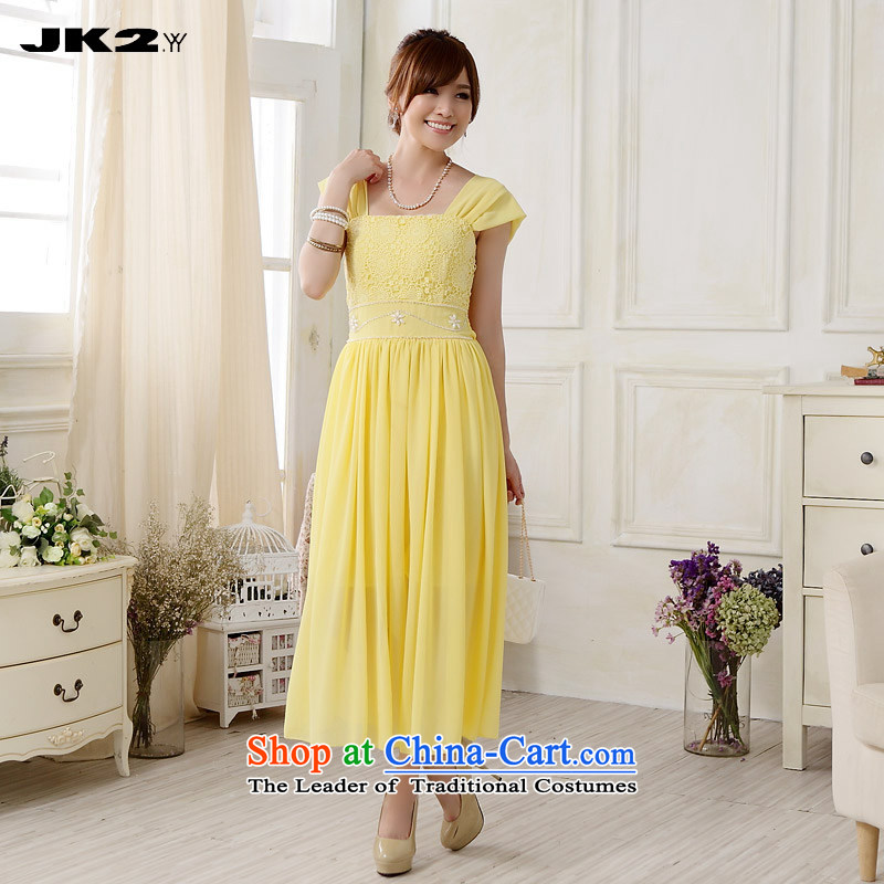 Jk2.yy 2015 sweet bridesmaid wedding dress lace nail pearl chiffon dresses larger long gown yellow�XXL recommendations about 155